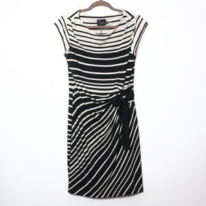 Just Taylor | Striped Ruche Dress cap Sleeve 10